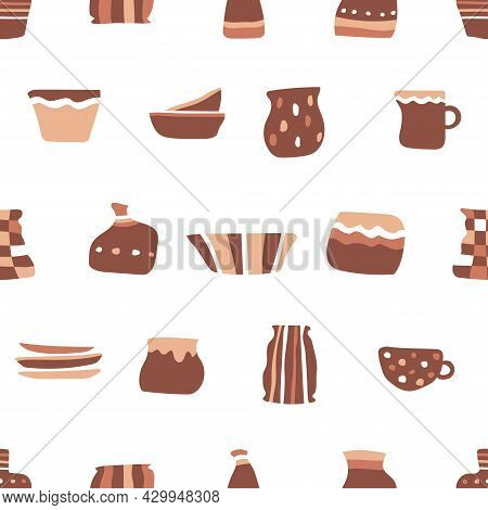 Vector Seamless Pattern With Objects Of Handmade Ceramic Tableware. Hand Drawn Craft Earthenware In