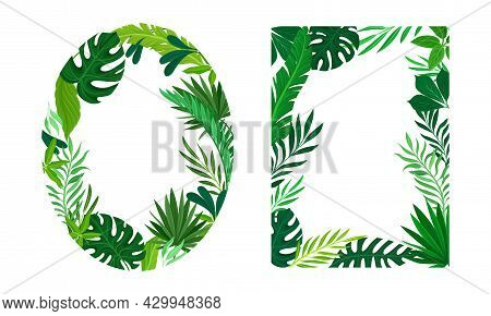 Summer Tropical Leaves Frame Set. Frames Of Oval And Rectangular Shapes With Palm Leaves, Invitation