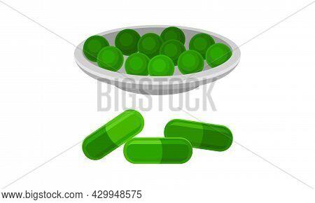 Spirulina Dietary Supplement. Healthy Organic Product In Pills Vector Illustration