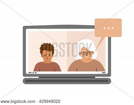 Vector Illustration. Screen Of Laptop With Kid Boy And Elderly Teacher. Online Distant Education In
