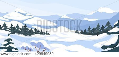 Winter Landscape With Hills In Snow, Fir Trees And Sky. Panoramic Snowy Nature Scene. Scenery With M