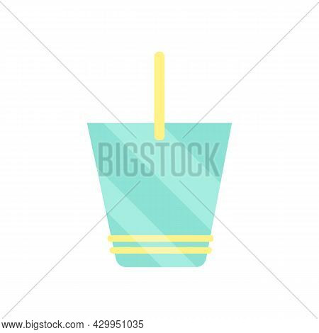 Bright Flat Icon Of Baby Bucket For Playing In Sand. Summer Item For Beach Holiday With Children. Si
