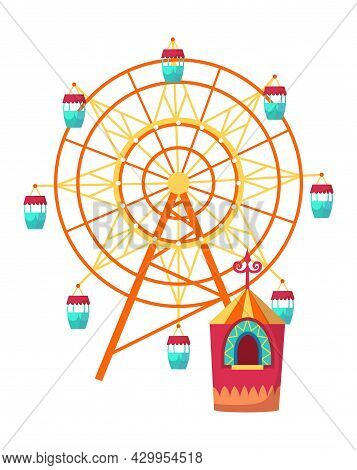 Amusement Park Attractions With Observation Wheel And Ticket Office. Vector Illustration On White Ba