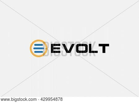 E-volt Abstract E Letter Modern Minimalist Tech Emblem Logo Design