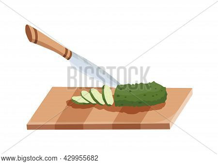 Sliced Vegetable. Slicing Cucumber By Knife. Cutting On Wooden Board Isolated On White Background. P