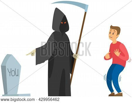 Male Character Suffering From Fear Of Death Near Skeleton In Hoodie With Scythe Isolated On White Ba