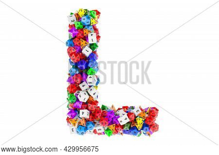 Alphabet Letter L, From Colored Roleplaying Dice. 3d Rendering Isolated On White Background
