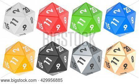 Set Of Twenty Sided Die, Icosahedron Dice, Various Colors. 3d Rendering Isolated On White Background
