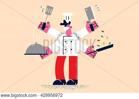Multi Tasking And Working As Chef Concept. Smiling Young Multitasking Kitchen Chef Man Cartoon Chara