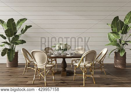 Coastal Design Dining Room With Table. Mock Up White Wall In Cozy Home Interior Background. Hampton