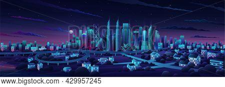 Simple Flat Illustration Of Kuala Lumpur City In Malaysia And Skyline Landmarks. Panorama Cityscape