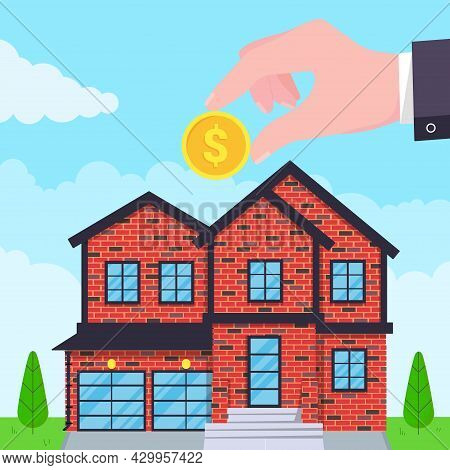 Hand Puts Coin In The House Flat Style Design Vector Illustration. Piggy Bank Buying House Concept.