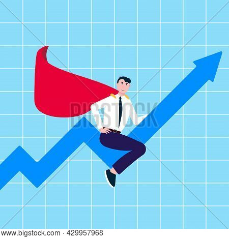 Successful Man, Leader, Businessman In Suit And Red Cape Ride On Graph Arrow Fly In The Sky Flat Sty