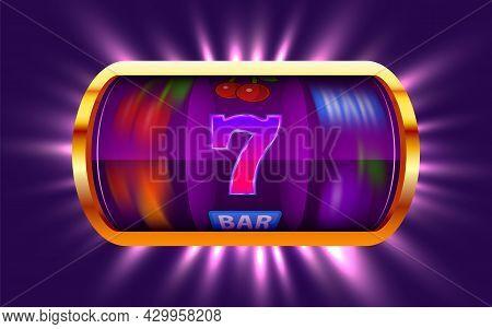 Slot Machine Wins The Jackpot. 777 Big Win Concept. Casino Jackpot.