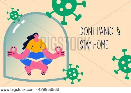 Dont Panic And Stay Home Concept. Young Smiling Meditating Woman Sitting On Floor Wit Crossed Finger