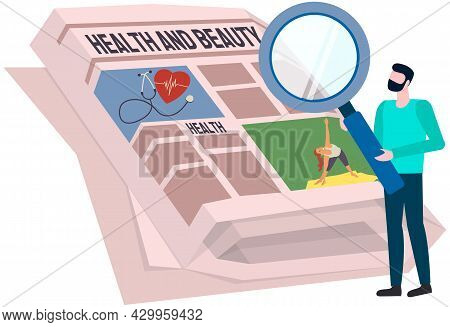 Man With Magnifying Glass Looks At Paper Publication With Fresh News. Publishing Article, Newspaper