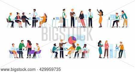 Office Staff Work. Business People Planning Strategy, Conduct Briefings, Discussion And Meeting, Cor