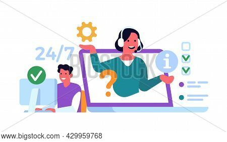 Online Technical Support. Internet Advising Clients, Woman With Headphones Consults Man From Monitor