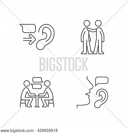 Verbal And Nonverbal Communication Linear Icons Set. Message Receiver. Personal Touch. Active Listen