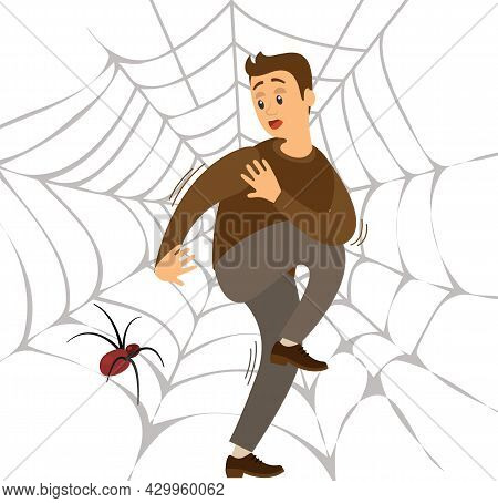 Fear Of Spider. Man Frightened By Spinner Guy Suffering From Arachnophobia, Human Fear Concept. Male