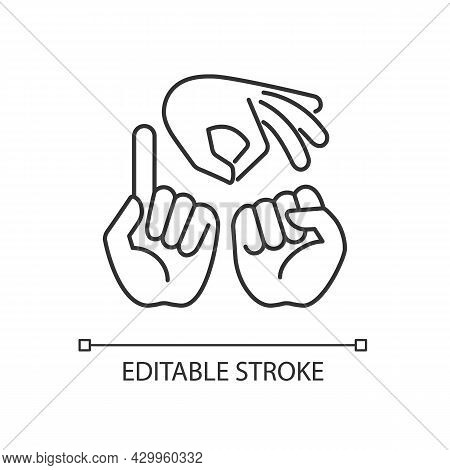 Gestures In Communication Linear Icon. Hands Movement. Express Feelings. Non-verbal Communication. T