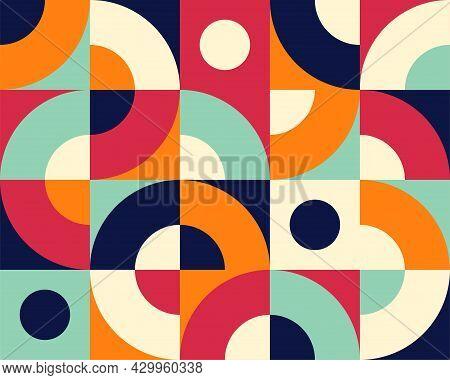 Bauhaus Seamless Pattern. Geometric Simple Tile Background, Modern Architecture Design. Retro Art El