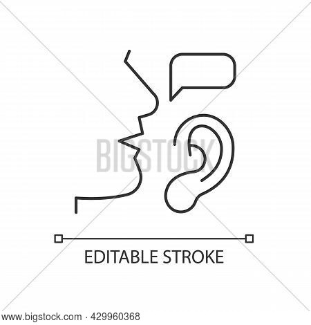 Active Listening Linear Icon. Building Trustful Relationships. Full Attention. Show Understanding. T