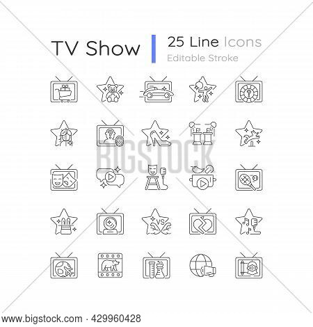 Tv Show Linear Icons Set. Television Entertainment. Media Fun Series. Reality Shows And Documentary