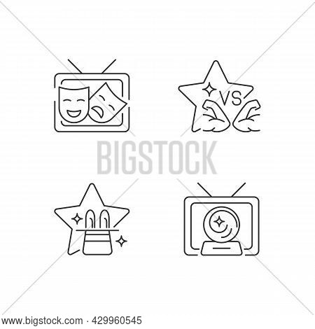 Tv Shows Genres Linear Icons Set. Drama Series. Talent Contest. Mystical Serial. Sport Competition R