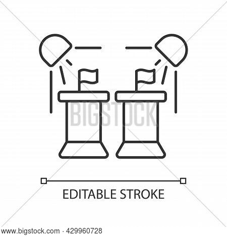 Political Show Linear Icon. President Debate Broadcast On Television. Government Congress. Thin Line