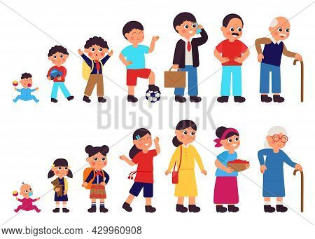 From Baby To Adult Characters. Human Ages, Teenage Girl And Old Woman. Person In Different Generatio
