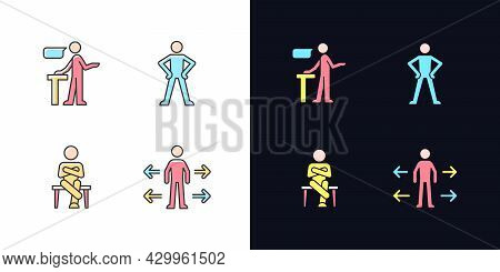 Communication Skills Light And Dark Theme Rgb Color Icons Set. Confident Speaking. Confidence Body L