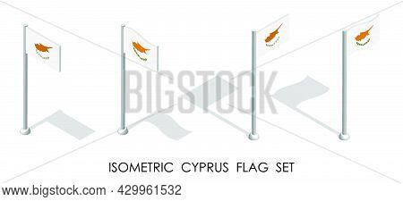 Isometric Flag Of Cyprus In Static Position And In Motion On Flagpole. 3d Vector