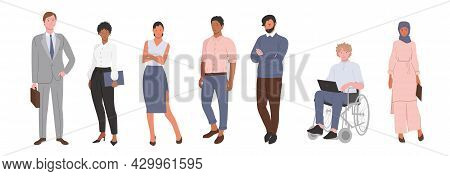 A Multinational Business Team With People Of Different Nationalities. An Arab Girl, An African-ameri