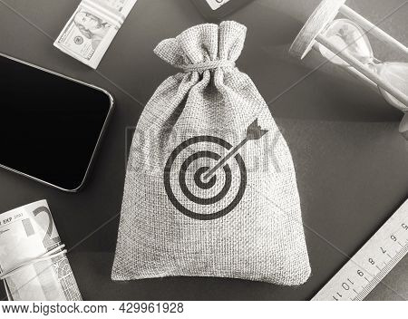 Money Bag With Goal Icon Image. The Concept Of Achieving Business Goals. Execution Of A Business Pla