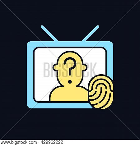 Online Investigation Show Rgb Color Icon For Dark Theme. True Crime Series. Criminal Mystery. Isolat