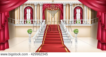 Palace Interior Vector Background, Luxury Castle Room, Royal Ballroom Hall, Arch Window, Red Curtain