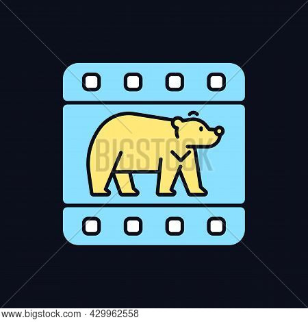 Wildlife Documentary Rgb Color Icon For Dark Theme. Educational Television Series About Animals. Iso