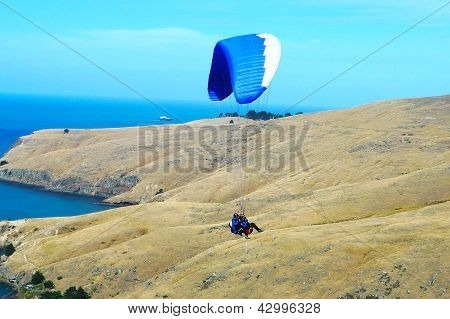 Tandem paragliding near Cristchurch, New Zealand