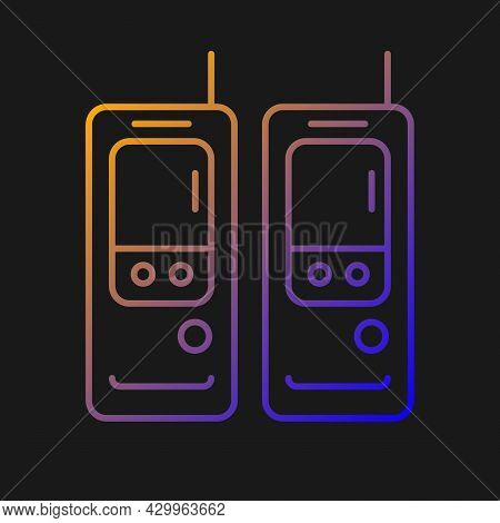 Walkie-talkie Gradient Vector Icon For Dark Theme. Vintage Handheld Transceiver. Portable Device For