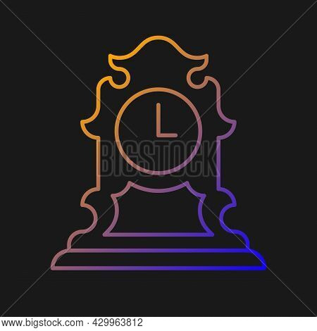Vintage Tabletop Clock Gradient Vector Icon For Dark Theme. Antique Table Clock. Retro Timepiece. Co