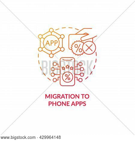 Migration To Phone Apps Red Gradient Concept Icon. Rewards In App Abstract Idea Thin Line Illustrati