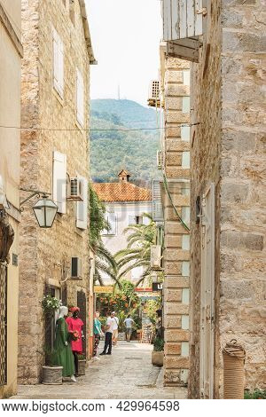 Budva, Montenegro - August 28, 2017: Old Town Street Budva. The First Mention Of This City - More Th