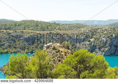 Landscape Of The Grado Reservoir In Huesca Spain Where You Can See A Hermitage Destroyed By Time Sur