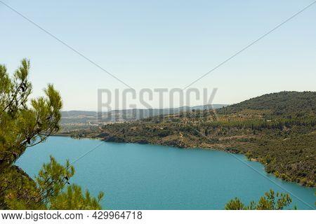 Landscape Of The Huge Water Reservoir In The Middle Of The Sierra De Grado In Huesca Spain