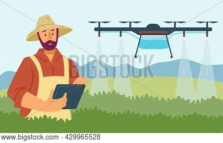 Vector Flat Illustration Of Smart Farming Using Digital Technologies And Drones To Automate Irrigati