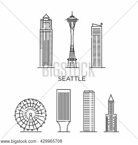 Minimal Seattle City Linear Skyline. Thin Style