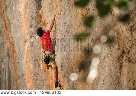 A Man Is Engaged In Extreme Sports, A Climber Is Training On Turkish Rocks, Strength And Endurance T