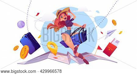 Summer Travel Concept, Girl Tourist Riding Luggage Bag On World Map With Navigation Pin, Foreign Pas