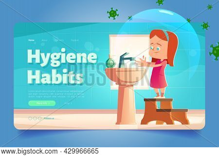 Hygiene Habits Banner With Girl Washing Hands In Sink With Flying Bacterias Around. Vector Landing P
